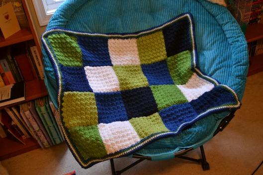 crochet baby boy blanket popcorn square