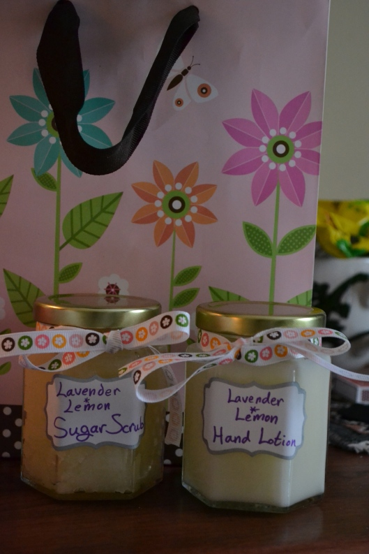 homemade lotion and sugar scrub