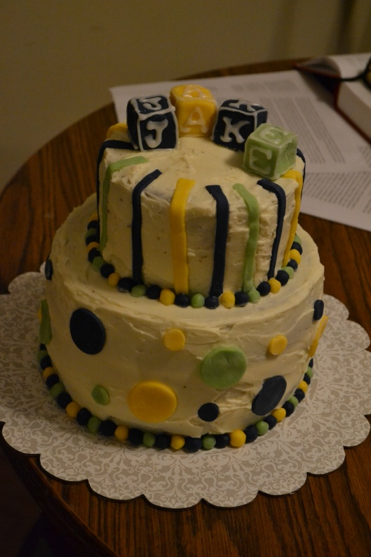 baby boy shower cake green blue yellow