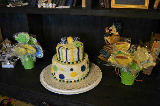baby boy baby shower cake green blue yellow